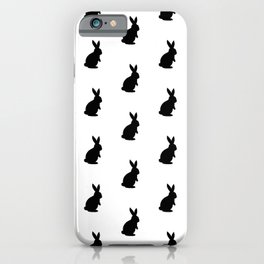 Rabbit Silhouette Pattern (black/white) iPhone Case