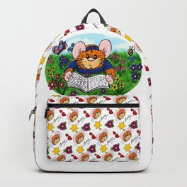 Hammy reading in a Meadow (white) Backpack