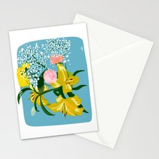 Flowers on Blue Stationery Cards