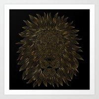 lannister Art Prints featuring lion / black by Anna Grunduls