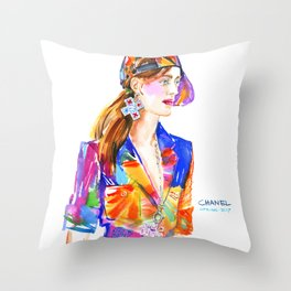 fashion #22. girl in multicolor dress and baseball cap Throw Pillow