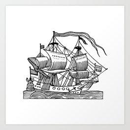 Ship Barco Bateau Schiff лодка Art Print