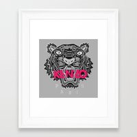 kenzo Framed Art Prints featuring KENZO Tiger, pink letters by cvrcak