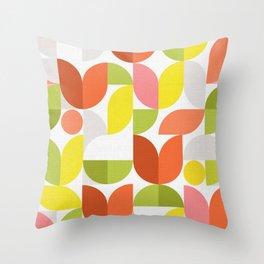 Mid Modern Geometric Bloom Pattern Throw Pillow