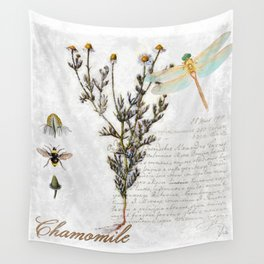 Chamomile Herb, Dragonfly Bumble Bee Botanical painting, Cottage style Wall Tapestry