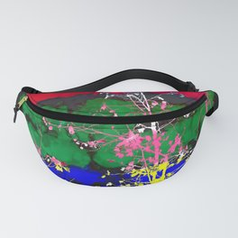 tree branch with leaf and painting texture abstract background in red green blue pink yellow Fanny Pack