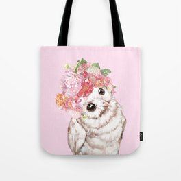 Snowy Owl with Flowers Crown Tote Bag