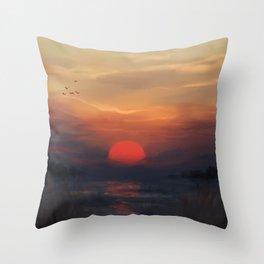 Red Sun Throw Pillow
