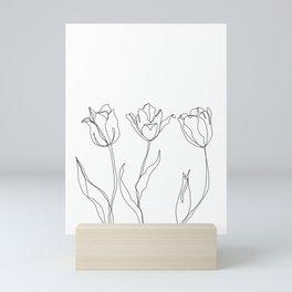 Botanical illustration line drawing - Three Tulips Mini Art Print