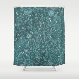 Floral Weave Teal Shower Curtain