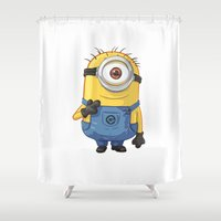 carl sagan Shower Curtains featuring Minion - Carl by Konstantin Veter