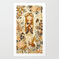 brown Art Prints featuring The Queen of Pentacles by Teagan White