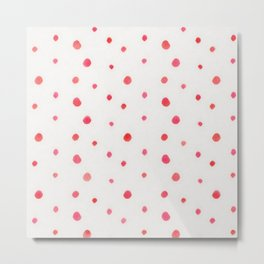 Pink red watercolor hand painted polka dots Metal Print