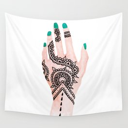 Modern watercolor hand  floral henna tattoo turquoise nails Wall Tapestry