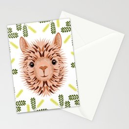 Alpaca blonde portrait. Frame of Mesquite Tree Branches Stationery Cards