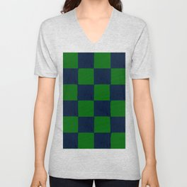 Vibrant green and dark blue checks soft pastel Unisex V-Neck