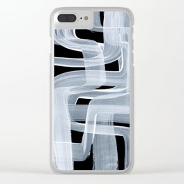Ghostly Minimalist Abstract Painting Black And White Maze Brush Strokes Clear iPhone Case