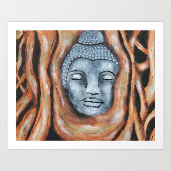 Buddha in the bodhi tree Art Print