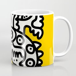 Black and White Cool Monsters Graffiti on Yellow Background Coffee Mug