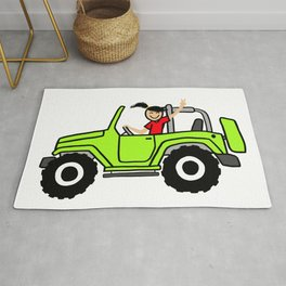 Jeep Wave Girl - Side View - Lime Green Rug