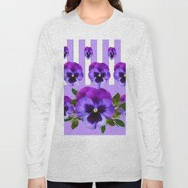 MODERN LILAC & PURPLE PANSY FLOWERS ART Long Sleeve T-shirt