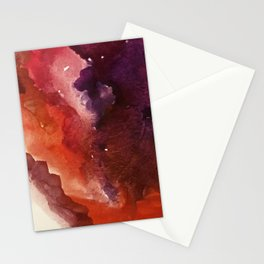 Starlight [3]: a pretty abstract watercolor piece in reds and purples by Alyssa Hamilton Art Stationery Cards
