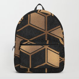 Charcoal and Gold - Geometric Textured Cube Design II Backpack