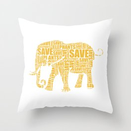 Save the Elephants Safari Elephant Protect Animals Throw Pillow