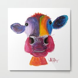 Nosey Cow ' LouLou ' By Shirley MacArthur Metal Print