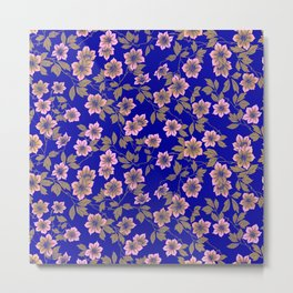Abstract blush pink brown sky blue flowers Metal Print