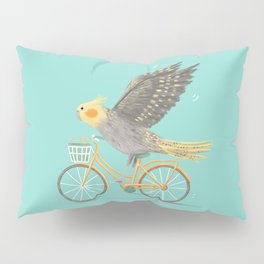 Cockatiel on a Bicycle Pillow Sham