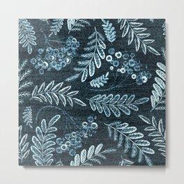 Berries and Leaves - Weathered Metal Print