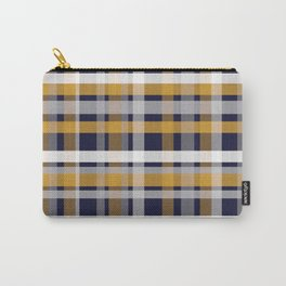 Modern Retro Plaid in Mustard Yellow, White, Navy Blue, and Grey Carry-All Pouch