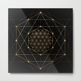 Flower of Life Black and Gold Metal Print