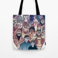 dungeons and dragons Tote Bags featuring Dungeons & Dragons by Steven P Hughes