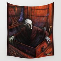 dracula Wall Tapestries featuring Dracula Nosferatu Vampire King by Scott Jackson Monsterman Graphic