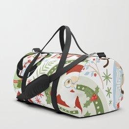 Holiday Christmas Winter Wonderland with Hipster Santa Reindeer Polar Bears and Penguins Duffle Bag