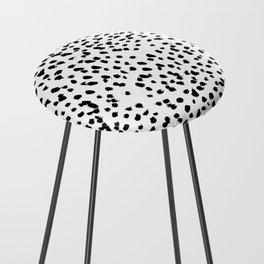 Nadia - Black and White, Animal Print, Dalmatian Spot, Spots, Dots, BW Counter Stool