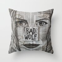 bad wolf Throw Pillows featuring Bad Wolf  by Chrissie Brown Art