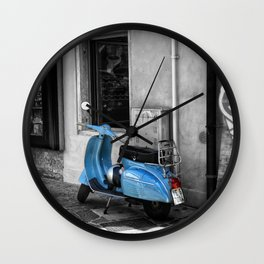 Blue Vespa in Venice Black and White Color Splash Photography Wall Clock