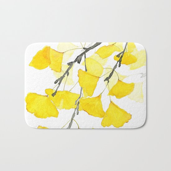 Golden Ginkgo Leaves Bath Mat