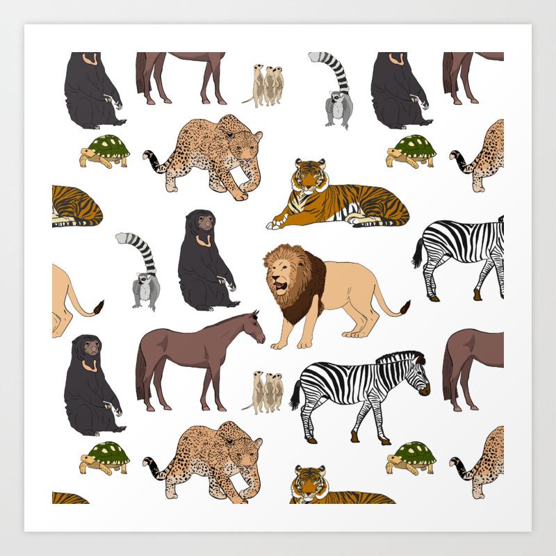 - Wild Animals (original) Art Print By Sammyjnz Society6