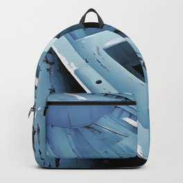 Blue Painted Rustic Wooden Fishing Boats Backpack