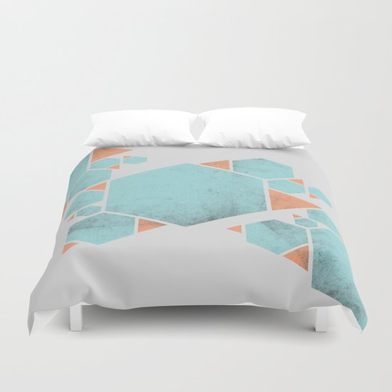 Geometric Hexagons and Triangles Duvet Cover