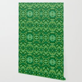Geometric Aztec in Forest Green Wallpaper