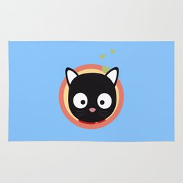 Black Cute Cat With Hearts Rug