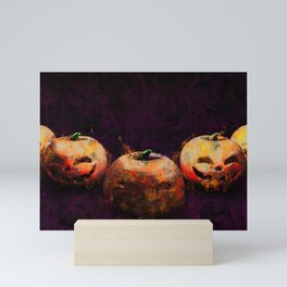 Grunge Halloween Background with Evil Grinning Pumpkins Mini Art Print