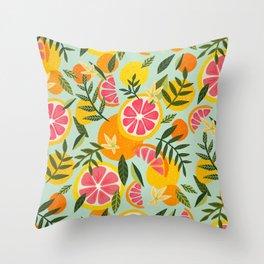 Grapefruit Blooms – Mint Palette Throw Pillow