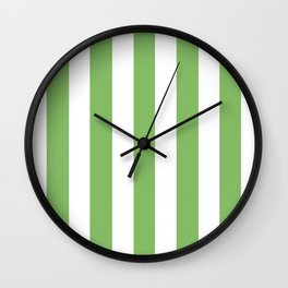Dollar bill green -  solid color - white vertical lines pattern Wall Clock