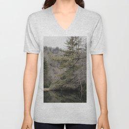 Lake and trees Unisex V-Neck
